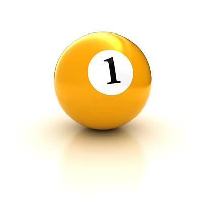 Billiard Drawing - Yellow Pool Billiard Ball Number 1 One by Mr Sizsus