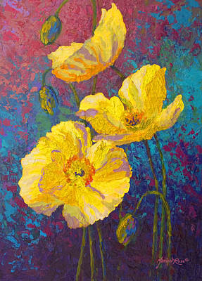 Red Poppy Painting - Yellow Poppies by Marion Rose