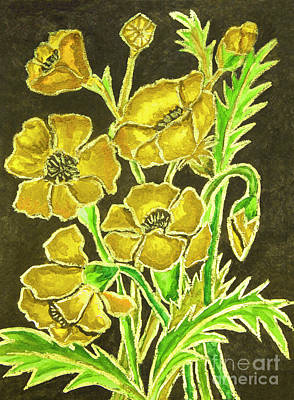 Painting - Yellow Poppies On Black Background, Painting by Irina Afonskaya