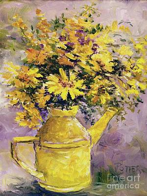 Painting - Yellow Pot Of Sunshine by Virginia Potter