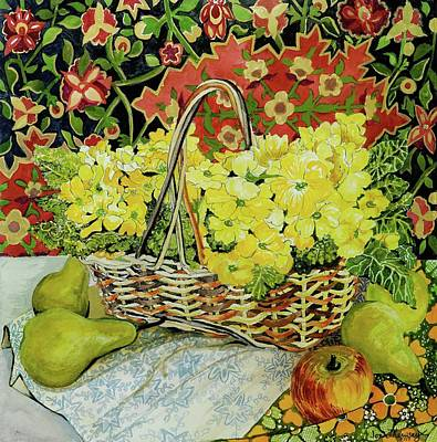 Yellow Primroses In A Basket,with Fruit And Textiles Print by Joan Thewsey