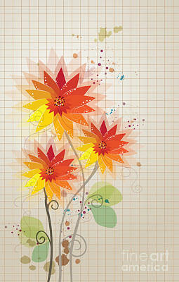 Mixed Media - Yellow Red Floral Illustration by Heinz G Mielke
