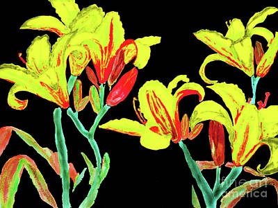 Painting - Yellow-red Lilies On Black by Irina Afonskaya