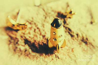Cute Cartoon Photograph - Yellow Rocket On Planetoid Exploration by Jorgo Photography - Wall Art Gallery