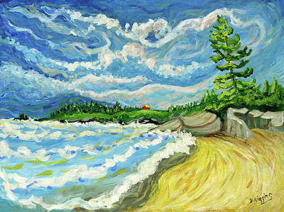 Painting - Yellow Roof,stonington,maine by Dave Higgins