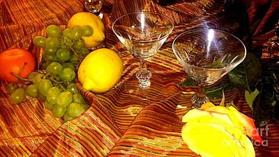 Yellow Rose, 2 Glasses, Grapes, Lemons Art Print