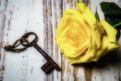 Photograph - Yellow Rose And Old Key by Garry Gay