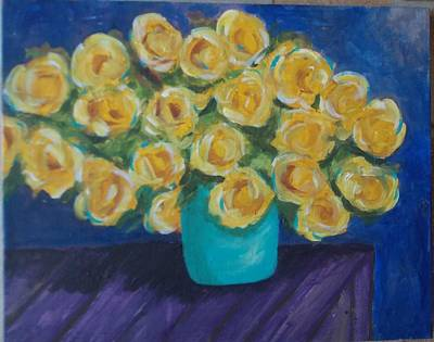 Painting - Yellow Rose Bouquet by Patricia Voelz