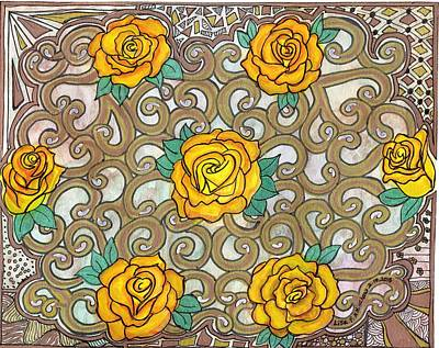 Yellow Rose Doily Original by Lisa Hinshaw