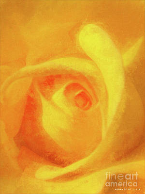 Rosaceae Mixed Media - Yellow Rose Floral Macro by Mona Stut