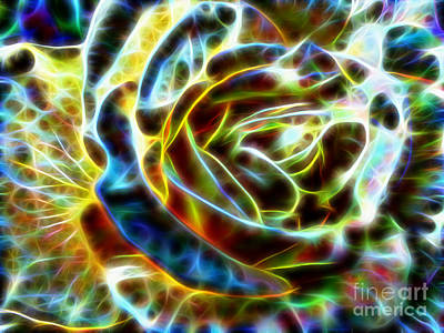 Yellow Rose Fractal Art Print