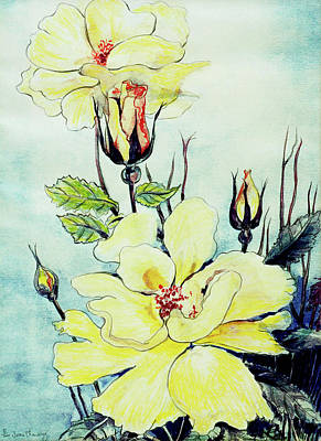 Flower Still Life Drawing - Yellow Rose In A Suffolk Breeze by Joan Thewsey