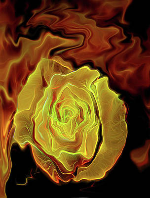 Digital Art - Yellow Rose by MaryAnn Janzen
