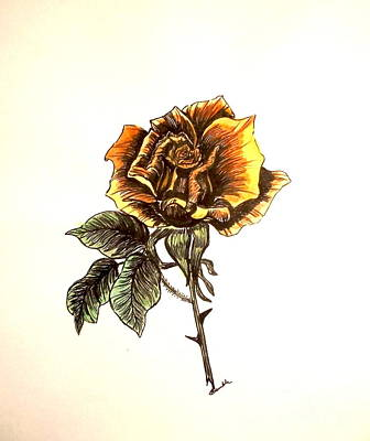 Yellow Rose Of Texas Painting - Yellow Rose by Nancy Rucker