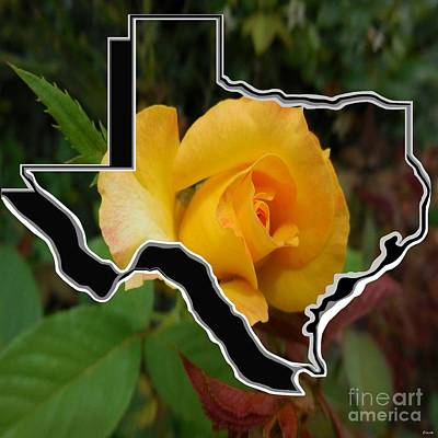Mixed Media - Yellow Rose Of Texas With Texas by Eloise Schneider