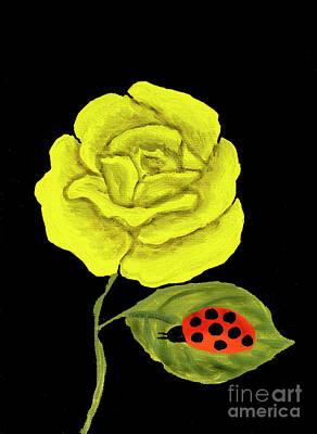 Painting - Yellow Rose, Oil Painting by Irina Afonskaya