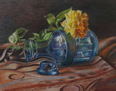 Yellow Rose On Blue Art Print by Mary Jo Jung