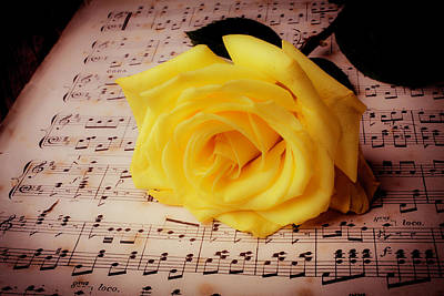 Sheet Music Photograph - Yellow Rose On Sheet Music by Garry Gay