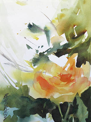 Yellow Rose Art Print by Rae Andrews