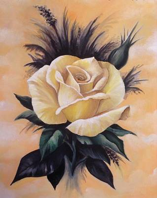Painting - Yellow Rose by Art By Three Sarah Rebekah Rachel White