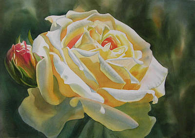 Rose Painting - Yellow Rose With Bud by Sharon Freeman
