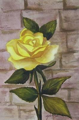Yellow Rose Art Print by Yvonne Kinney
