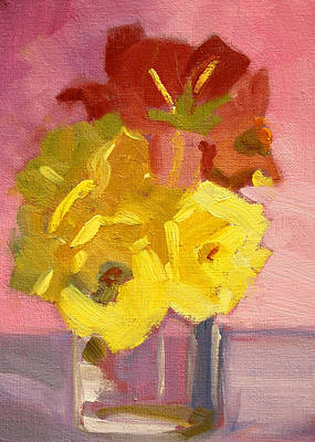 Painting - Yellow Roses 2 Still Life Painting by Nancy Merkle