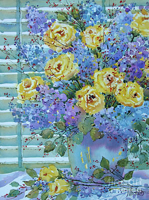 Yellow Roses And Lilacs Art Print