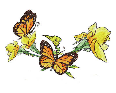 Painting - Yellow Roses And Monarch Butterflies by Irina Sztukowski
