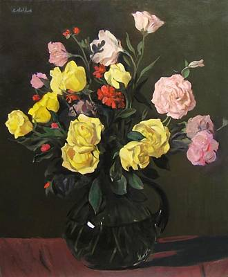 Painting - Yellow Roses And Pink Lisianthus by Robert Holden