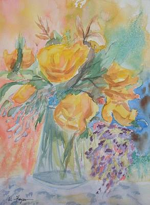 Watercolor Wisteria Painting - Yellow Roses And Wisteria 2 by Warren Thompson