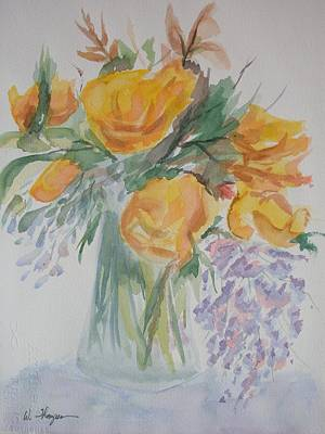 Watercolor Wisteria Painting - Yellow Roses And Wisteria by Warren Thompson