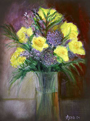 Painting - Yellow Roses by Arna Vodenos