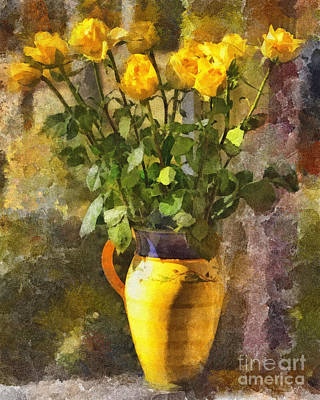Photograph - Yellow Roses Bouquet by Betsy Foster Breen