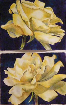 Painting - Yellow Roses Diptych by Diane Ziemski