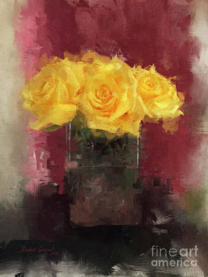 Art Print featuring the digital art Yellow Roses by Dwayne Glapion