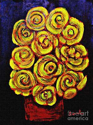 Painting - Yellow Roses In A Red Vase by Sarah Loft