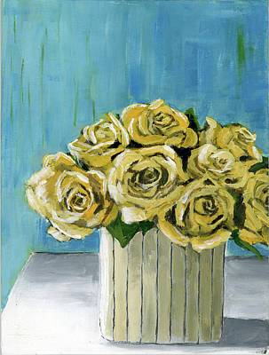 Yellow Roses In Vase Art Print