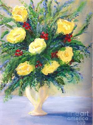 Open Impressionism California Desert - Yellow roses by Leslie Dobbins
