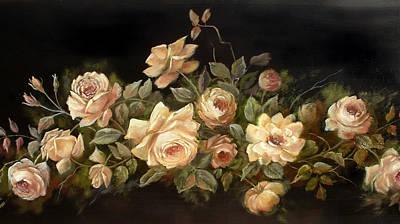 Yellow Roses On Black  Art Print