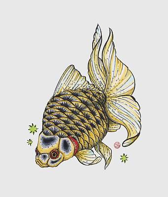 Yellow Ryukin Print by Shih Chang Yang