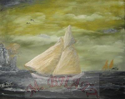 Yellow Sail Boat Art Print by M Bhatt