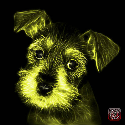 Digital Art - Yellow Salt And Pepper Schnauzer Puppy 7206 F by James Ahn