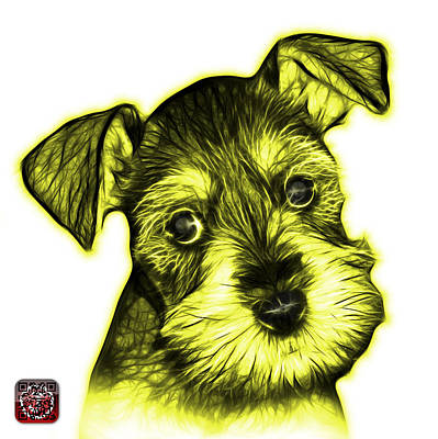 Digital Art - Yellow Salt And Pepper Schnauzer Puppy 7206 Fs by James Ahn