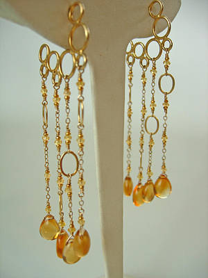 Adove Jewelry - Yellow Sapphire And Citrine Mermaid Bubble Hoops by Adove  Fine Jewelry