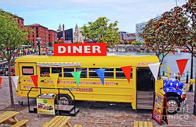 Photograph - Yellow School Bus Diner - Liverpool - Albert Docks by Doc Braham