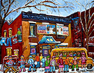 Painting - Yellow School Bus Painting Fairmount Bagel Montreal Memories Canadian Winters Kids Playing Hockey by Carole Spandau