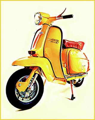 Digital Art - Yellow Scooter by Gary Grayson