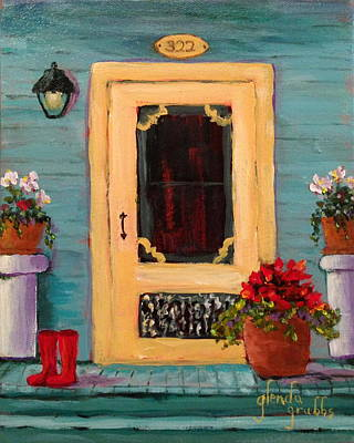 Yellow Screen Door   Art Print by Glenda Grubbs