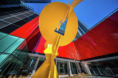 Pyrography - Yellow Sculpture In Front Of Optima Chicago Center by Judith Barath